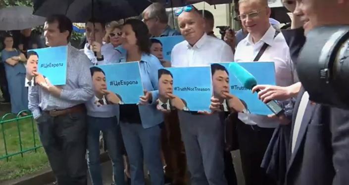 Митинг в поддержку арестованного на Украине журналиста Кирилла Вышинского