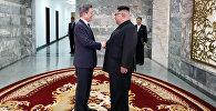 Глава КНДР Ким Чен Ын и президент Южной Кореи Мун Чжэ Ин