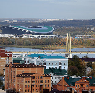 Вид на мост Миллениум и стадион Казань-Арена