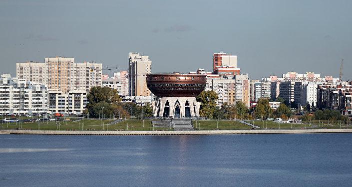 Вид на центр семьи Казан на набережной реки Казанки