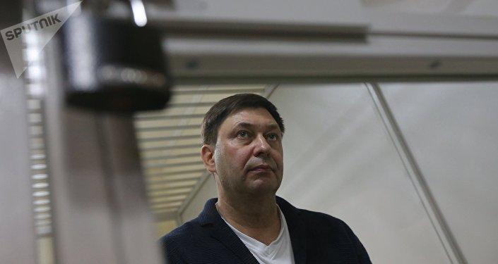Руководитель портала РИА Новости Украина Кирилл Вышинский во время рассмотрения апелляции