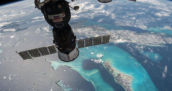 Снимок корабля Союз, пристыкованного к МКС
