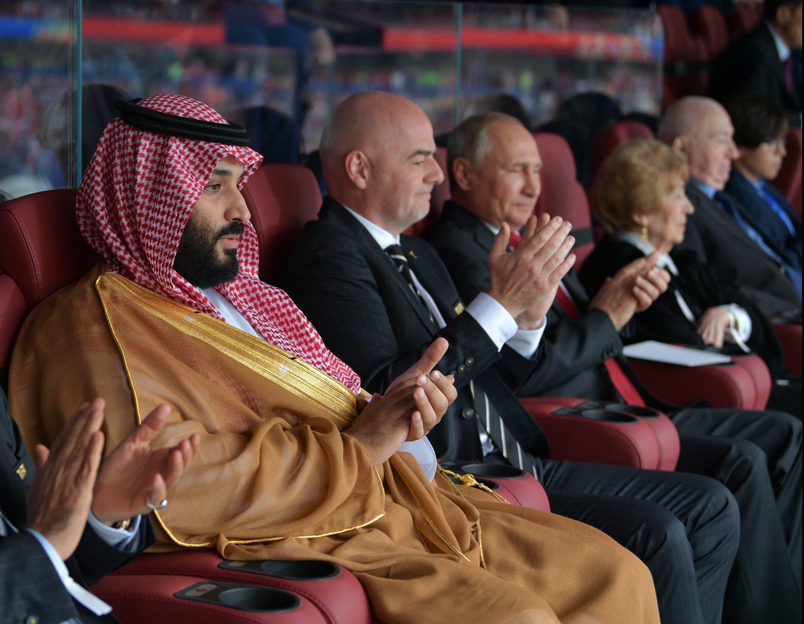 Владимир Путин, президент FIFA Джанни Инфантино и наследный принц Саудовской Аравии Мухаммед ибн Салман Аль Сауд на  открытии ЧМ-2018