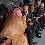 Президент РФ Владимир Путин и наследный принц Саудовской Аравии Мухаммед ибн Салман Аль Сауд во время матча группового этапа чемпионата мира по футболу между сборными России и Саудовской Аравии