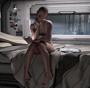 Женщина в космическом корабле, иллюстративное фото