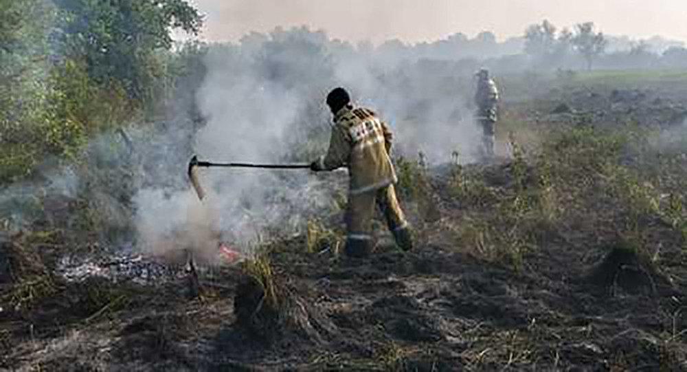 В Усть-Каменогорске пожарные подразделения продолжают тушить сухую траву на острове, расположенном посредине реки Иртыш