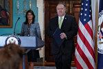 Госсекретарь США Майк Помпео и посол США в ООН Никки Хейли прибывают на брифинг для прессы, объявляя о выходе США из Совета ООН по правам человека