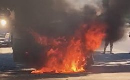 Машина загорелась