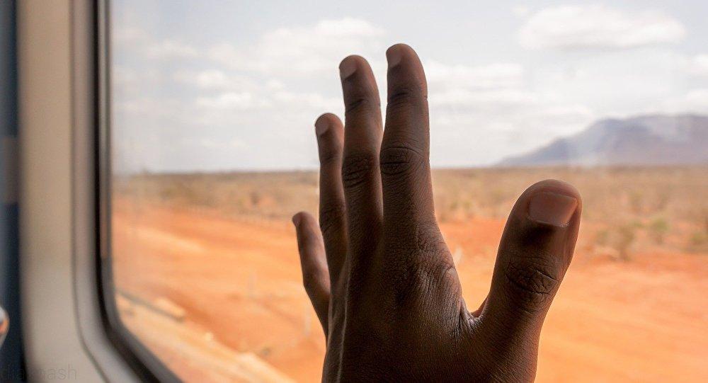 Рука пассажира в окне поезда, иллюстративное фото