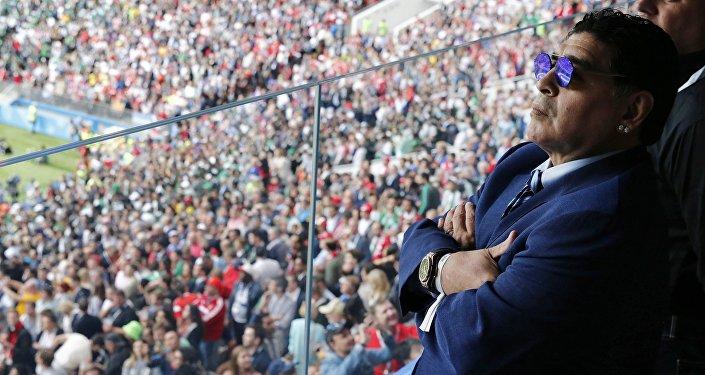 Аргентинский футболист Диего Марадона на церемонии открытия чемпионата мира по футболу 2018 на стадионе Лужники