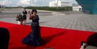 Айман Мусахаджаева на красной дорожке кинофестиваля Евразия в Астане