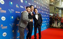Максим Акбаров , Санжар Мади и Артур Толепов на кинофестивале Евразия в Астане