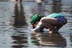 Ребенок у воды, архивное фото