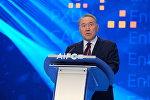 Нурсултан Назарбаев на официальной презентации Международного финансового центра Астана.