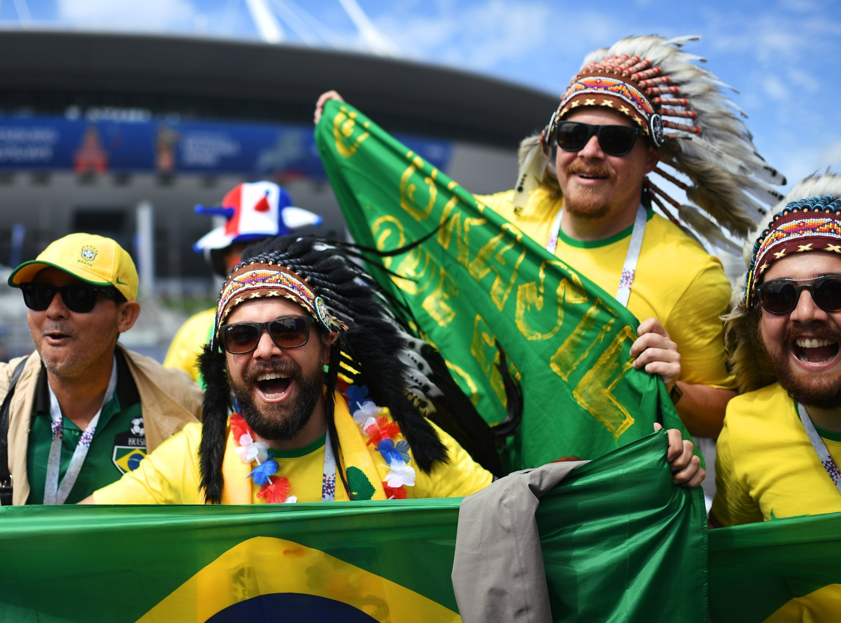 Болельщики перед матчем ЧМ-2018 по футболу между сборными Бразилии и Коста-Рики