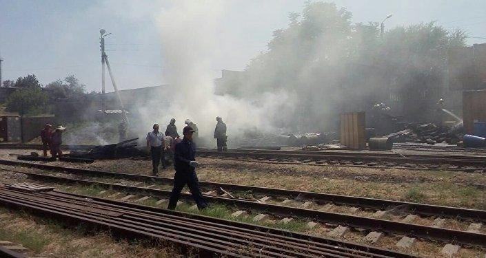 Пожар произошел на Шымкентском пивоваренном заводе