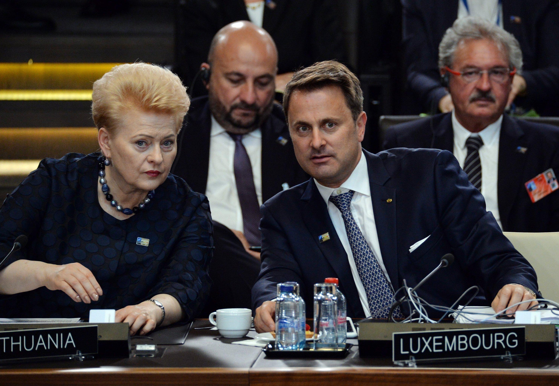 Президент Литвы Даля Грибаускайте и премьер-министр Люксембурга Ксавье Беттель на саммите глав государств Североатлантического альянса