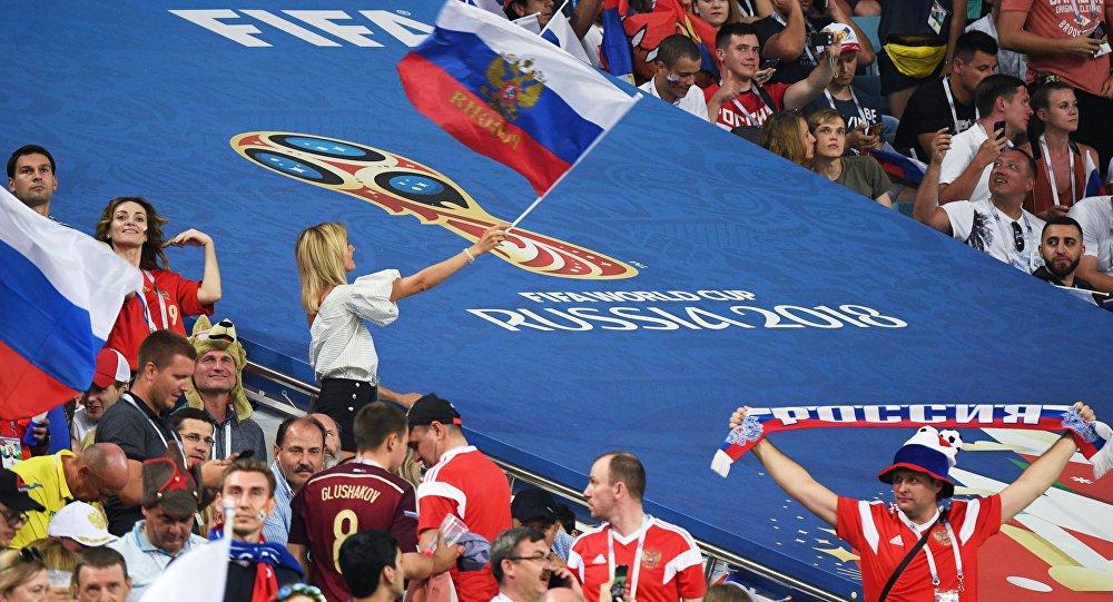 Болельщики перед матчем ЧМ-2018 по футболу между сборными России и Хорватии