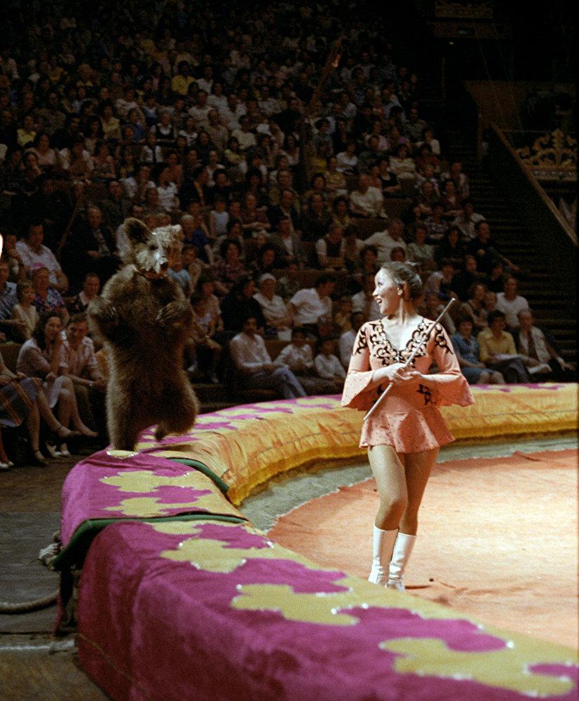 Дрессировщица медведей Шолпан Кажанбердиева на арене цирка со своими питомцами. Казахская ССР