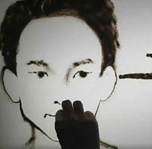 Алматинский художник на песке Мади Бекдаир создал анимированный видеопортрет фигуриста Дениса Тена