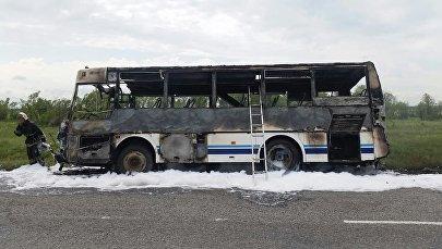 Жолаушылар автобусы өртеніп кетті