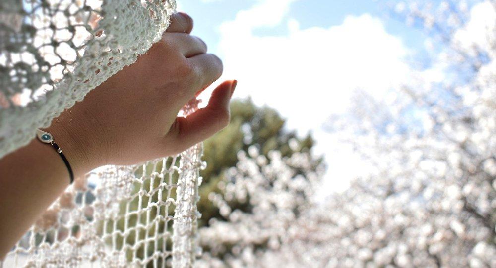 Рука девушки в проеме окна, иллюстративное фото
