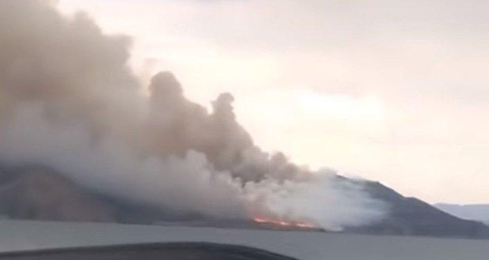 Пожар на Бухтарминском водохранилище
