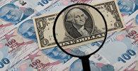 Банкнота доллара США просматривается через увеличительную линзу поверх 100 турецких лир, иллюстративное фото