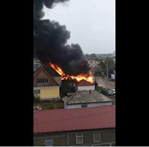 Дом сгорел в Павлодаре