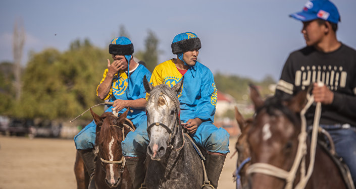 Всемирные игры кочевников-2018. Французские, американские, казахские и узбекские спортсмены играют в кок-бору