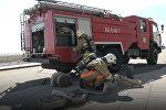 Пожарные машины подъехали к зданию нового вокзала в Астане – видео