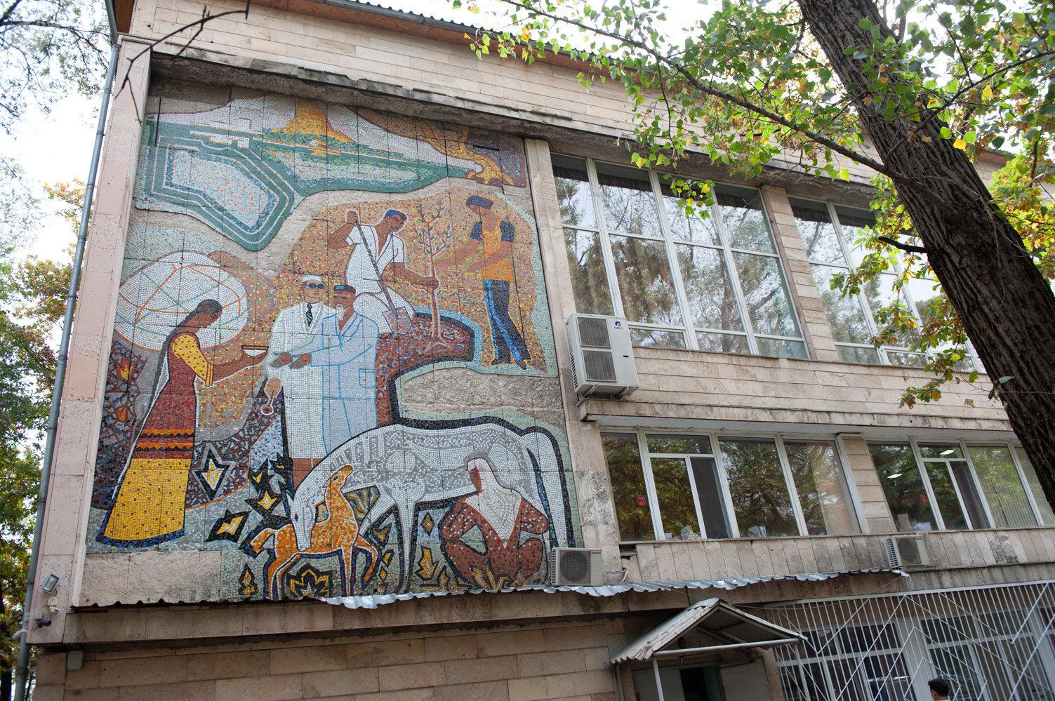 Панно на здании противотуберкулезного диспансера