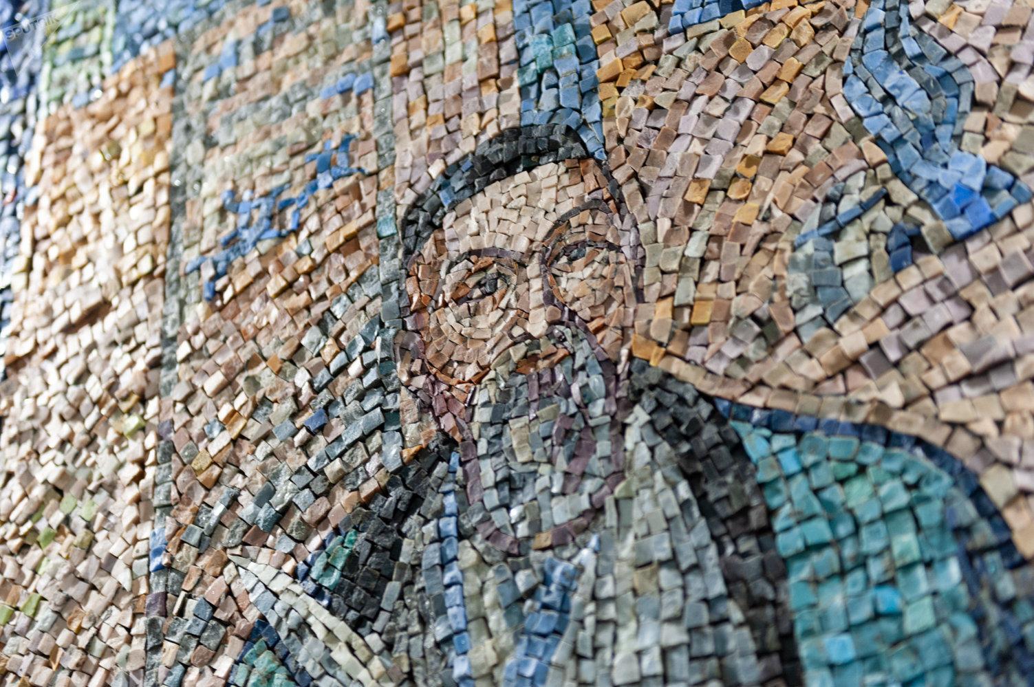 Мозаичное панно, Дом ученых, Алматы