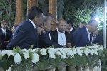 Президенты прогулялись по райскому саду в Душанбе