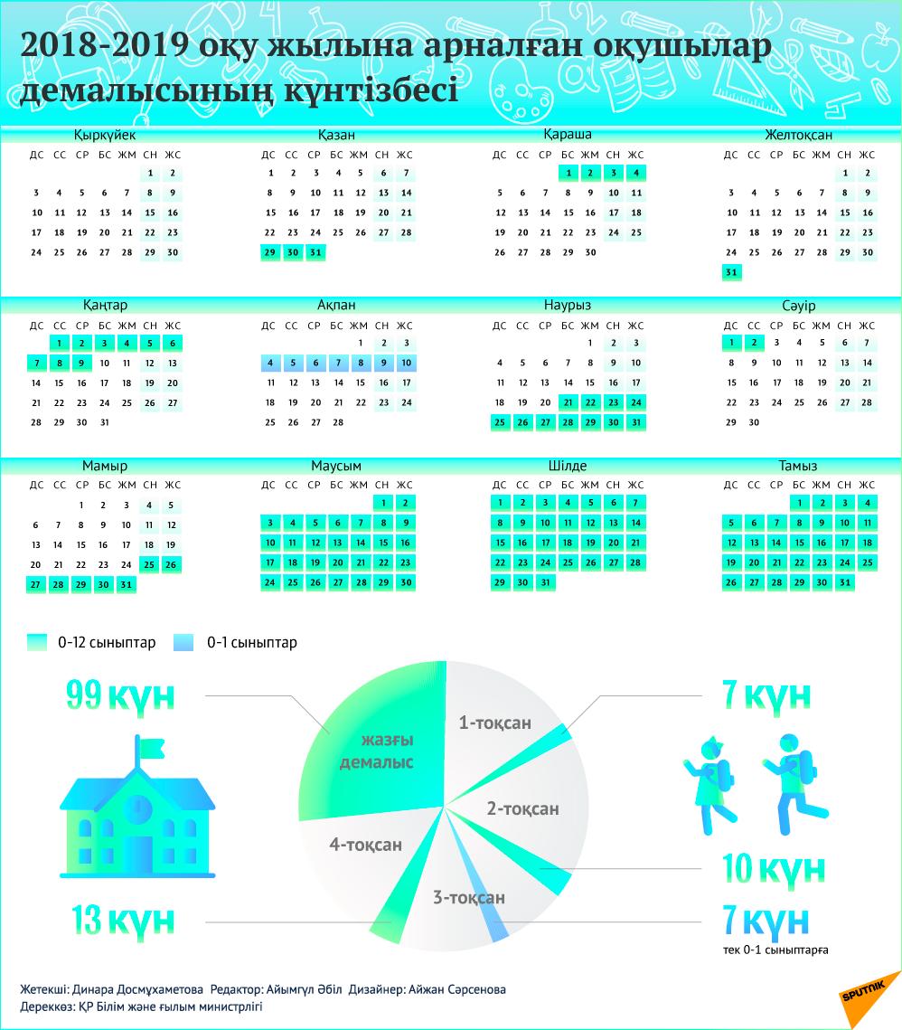 2018-2019 оқу жылындағы оқушылар демалысының күнтізбесі