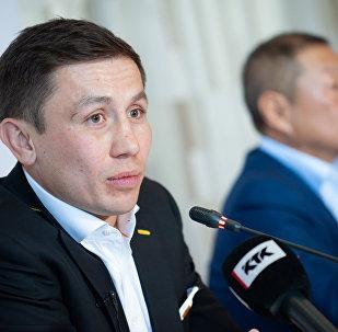 Геннадий Головкин во время пресс-конференции