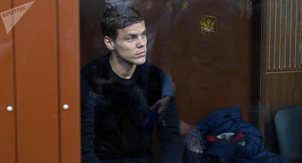 Футболист Александр Кокорин, обвиняемый в хулиганстве, на заседании Тверского районного суда Москвы
