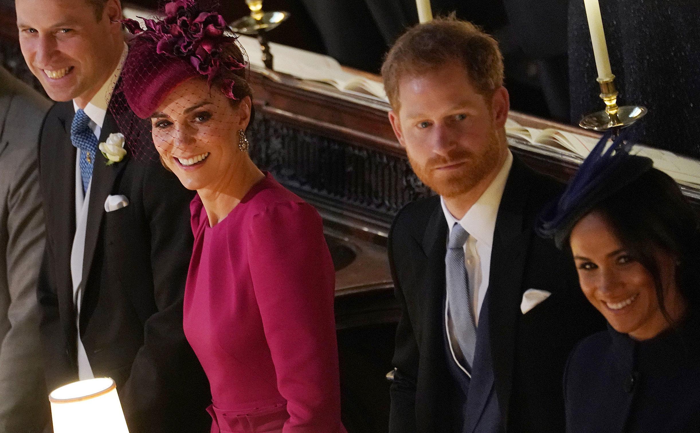 Принц Уильям с супругой Кэтрин и принц Гарри с супругой Меган