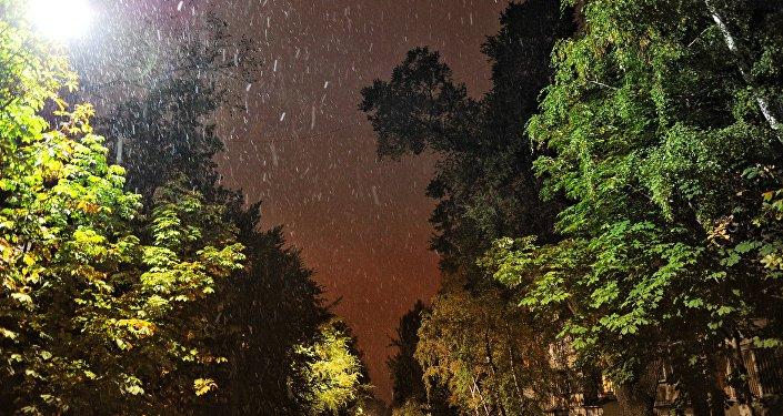 Снег выпал в Алматы