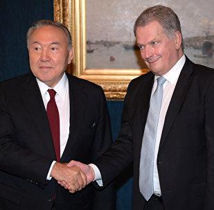Президент Казахстана Нурсултан Назарбаев и президент Финляндии Саули Ниинистё
