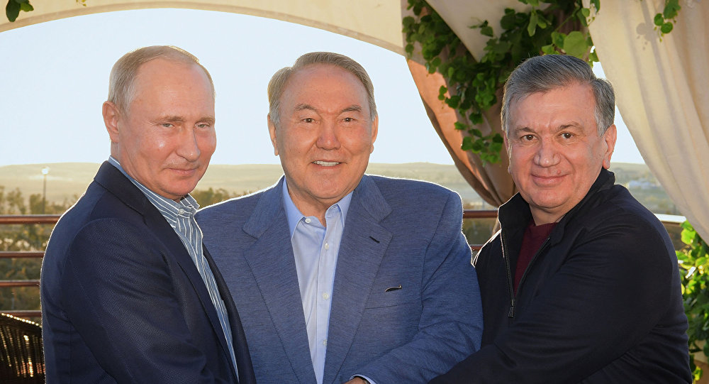 Қазақстан президенті Нұрсұлтан Назарбаев Ресей басшысы Владимир Путин және Өзбекстан президенті Шавкат Мирзиёевпен кездесті