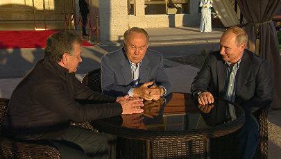 Макрон хочет общаться – видео с неформальной встречи Назарбаева, Путина и Мирзиёева