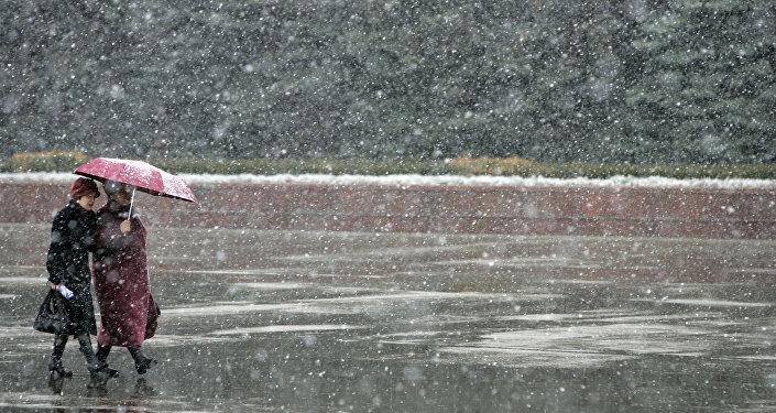 Архивное фото дождя со снегом