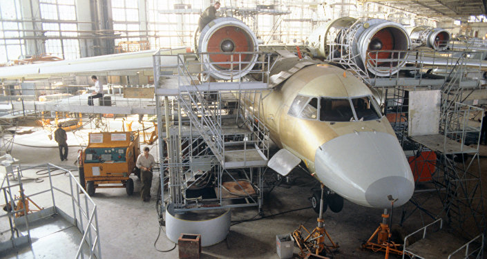 Архивное фото самолета Ан-74 на Харьковском заводе-изготовителе