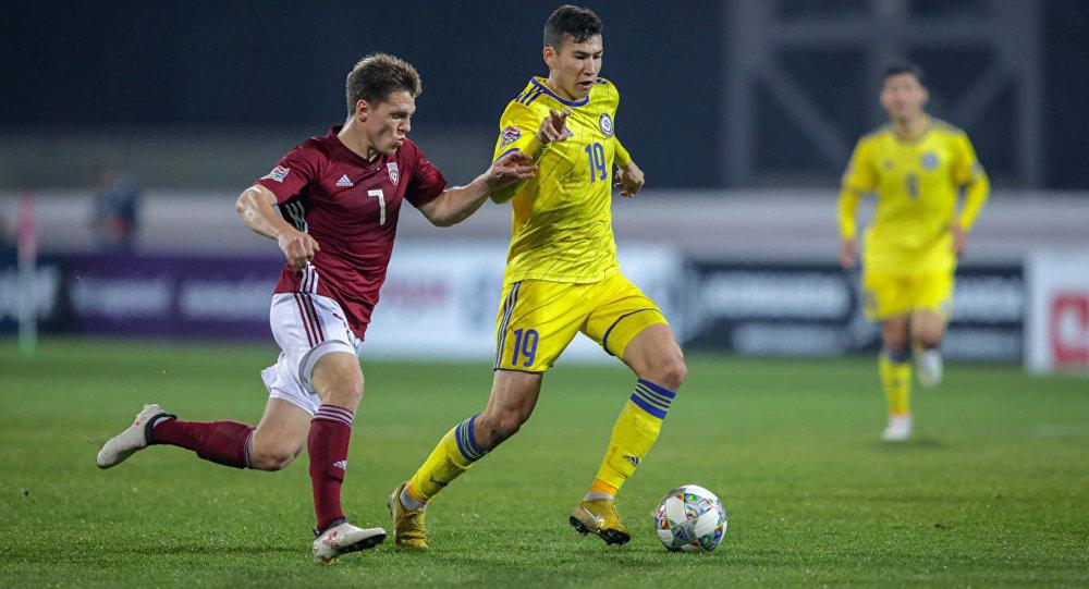 Выездной матч Лиги Наций УЕФА между сборными Латвии и Казахстана