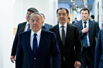 Президент Казахстана Нурсултан Назарбаев и премьер-министр Бакытжан Сагинтаев на открытии Astana Hub