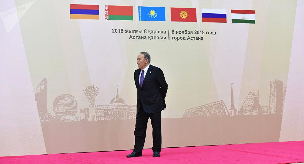 Президент Казахстана Нурсултан Назарбаев на совещании ОДКБ в Астане, 8 ноября 2018 года