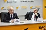 Мурат Журинов и Александр Сергеев на пресс-конференции в студии Sputnik Казахстан