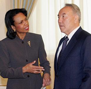 Кондолиза Райс и Нурсултан Назарбаев, архивное фото