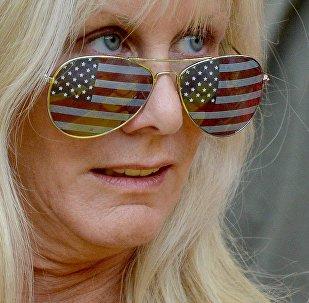 Американская болельщица на чемпионате мира по легкой атлетике в Москве.